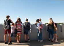 Tourists on the observation deck Royalty Free Stock Images