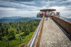 Tourists on observation deck. Over forest with dramatic sky in daytime royalty free stock photo