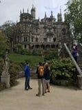 Tourists Observe Royal Palace in Sintra City, Portugal. Royal Palace, Sintra City, Portugal Royalty Free Stock Photo