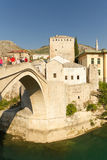 Tourists on Old Bridge in Mostar, Bosnia Royalty Free Stock Photos