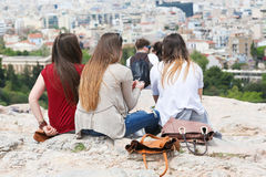 Tourists at Old Historic Athens. Old Historic Athens at sunny spring day in downtown Athens, Greece royalty free stock images