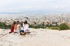 Tourists at Old Historic Athens. Old Historic Athens at sunny spring day in downtown Athens, Greece royalty free stock photo
