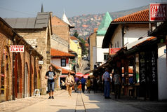 Tourists in old Sarajevo bazaar Stock Image