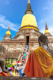 The tourists and Old Temple Architecture, Wat Yai Chai Mongkol at Ayutthaya, Thailand, World Heritage Site Royalty Free Stock Images