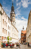Tourists at the old town hall of Görlitz. GOERLITZ, GERMANY - AUGUST 23: Tourists at the old town hall of Goerlitz, Germany on August 23, 2016. The historic royalty free stock images