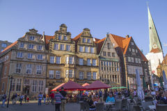 Tourists in Old town of Hanseatic city Bremen,Germany Royalty Free Stock Image