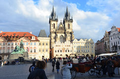 Tourists on The Old Town Market Square and Church of Our Lady Before Týn in Prague, Czech Republic Royalty Free Stock Photo