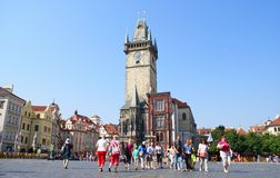 Tourists in the Old Town of Prague Royalty Free Stock Image