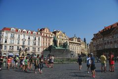 Tourists in the Old Town of Prague Stock Photography