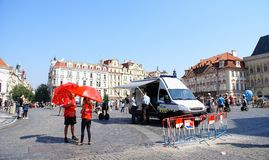Tourists in the Old Town of Prague Stock Photo