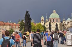 Tourists in Old Town Prague Czech Republic stock images