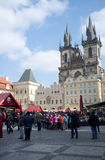 Tourists in the Old Town Square in Prague Stock Photography
