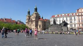 Tourists in the old town square. Spring in Prague stock video footage