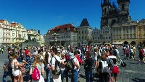 Tourists on Old Town Square, Tyn Church. Prague, Czech Republic - August 19, 2017: Tourists on Old Town Square, Tyn Church stock video