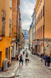 Tourists in Old Town Stockholm city, Sweden Royalty Free Stock Image