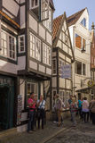 Tourists in Old town street Schnoor , Bremen,Germany Stock Photos