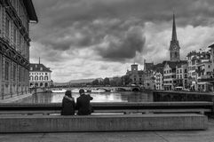 Tourists in the old town of Zurich in cloudy weather, Switzerlan Stock Photo