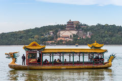 Tourists On A Dragon Boat At The Summer Palace Royalty Free Stock Image