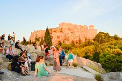 Tourists On The Areopagus Hill. Stock Photo