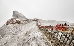 Free Tourists On The Stairs Leading To The Jade Dragon Snow Mountain Viewing Platform. Stock Images - 103096894