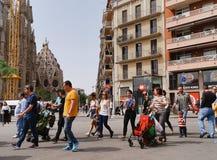 Tourists On Their Way To The La Sagrada Familia Royalty Free Stock Photos