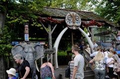 TOURISTS AT OPEN AIR AMUSEMENT PARK BAKKEN Stock Photo