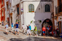Tourists in Ostuni, Italy Stock Photos
