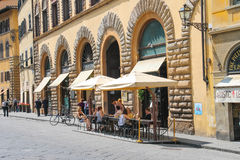 Tourists at an outdoor cafe in Florence. Italy Royalty Free Stock Image