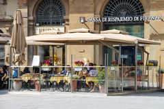 Tourists at an outdoor cafe in Florence. Italy Stock Photography