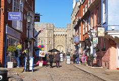 Tourists outside Windsor Castle in England stock images