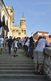 Tourists over  the Rialto Bridge Stock Photography