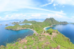 Tourists on Padar Island, Flores stock images