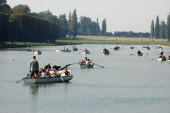 Tourists on boats at Versailles Royalty Free Stock Images