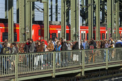 Tourists, padlocks and train on Hohenzollern Bridg Royalty Free Stock Image