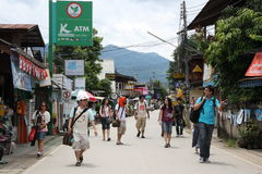 Tourists in Pai, Thailand Royalty Free Stock Photography