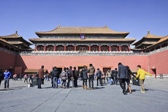 Tourists at Palace Museum entrance, Beijing, China Royalty Free Stock Images