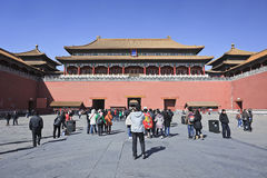 Tourists at Palace Museum entrance, Beijing, China Stock Photo