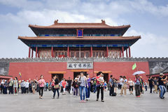 Tourists at Palace Museum exit, Beijing, China Stock Photos
