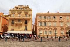 Tourists on Palace square in Monaco-Ville, Monaco. Royalty Free Stock Photos