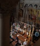 The tourists and palmers on Holy Sepulchre Church.Jerusalem,Israel stock photo
