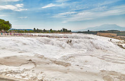 Tourists in Pamukkale Stock Photo