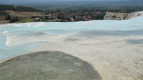Tourists on Pamukkale Travertine pools and terraces. stock video footage