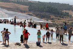Tourists in Pamukkale Stock Image
