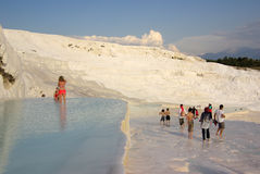 Tourists in Pamukkale, Turkey Stock Photography
