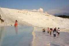 Tourists in Pamukkale, Turkey Stock Photography