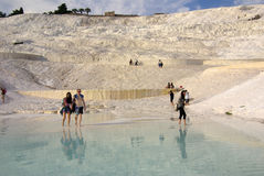 Tourists in Pamukkale, Turkey Royalty Free Stock Photo