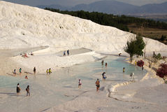 Tourists in Pamukkale, Turkey Royalty Free Stock Photography
