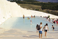 Tourists in Pamukkale, Turkey Royalty Free Stock Images