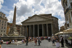 Tourists at the Pantheon, Rome. A crowd of tourists in front of the historical pantheon of Roma, Italy Stock Images