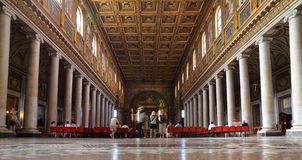 Tourists at Papal Basilica of Saint Mary Major. Faces are indistinguishable Stock Image